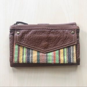 Brown Faux Leather Clutch Wallet